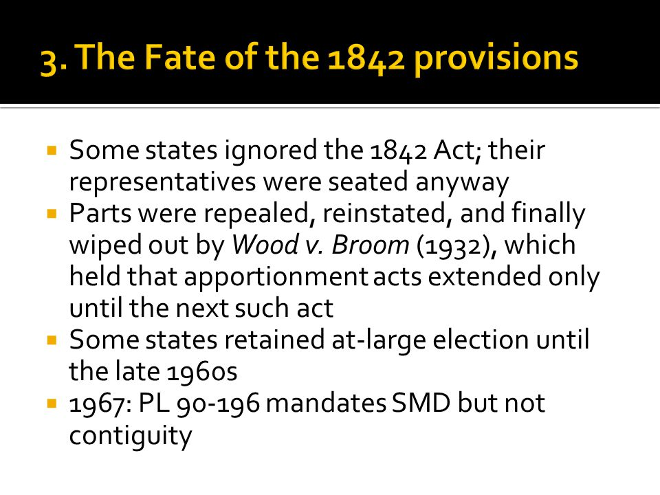  Some states ignored the 1842 Act; their representatives were seated anyway  Parts were repealed, reinstated, and finally wiped out by Wood v. Broom