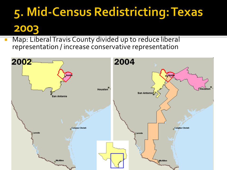  Map: Liberal Travis County divided up to reduce liberal representation / increase conservative representation