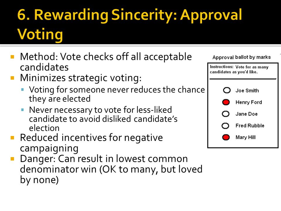  Method: Vote checks off all acceptable candidates  Minimizes strategic voting:  Voting for someone never reduces the chance they are elected  Nev