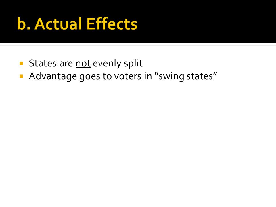  States are not evenly split  Advantage goes to voters in swing states