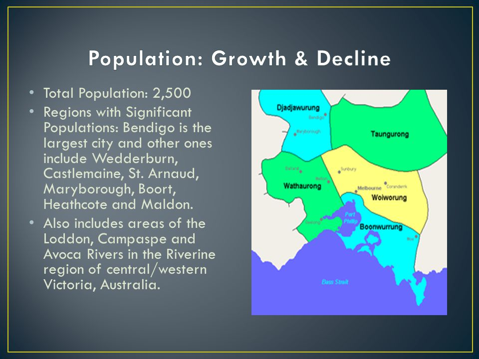 Total Population: 2,500 Regions with Significant Populations: Bendigo is the largest city and other ones include Wedderburn, Castlemaine, St. Arnaud,