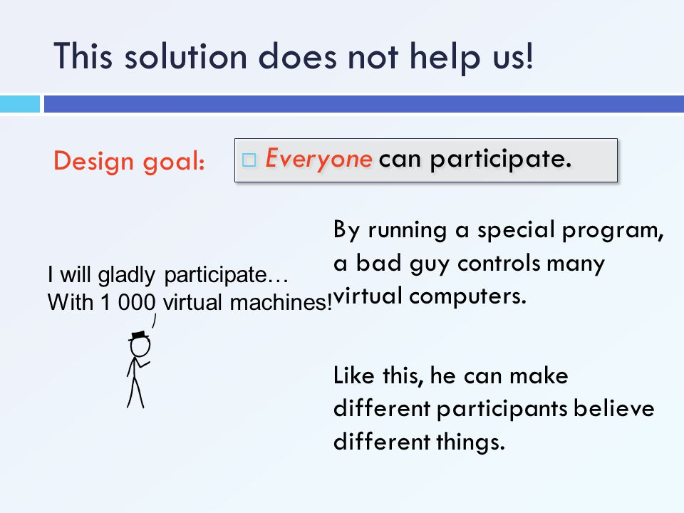 This solution does not help us! Design goal:  Everyone can participate. I will gladly participate… With 1 000 virtual machines! By running a special