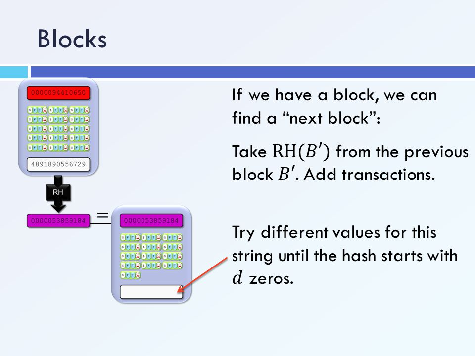 """If we have a block, we can find a """"next block"""":"""