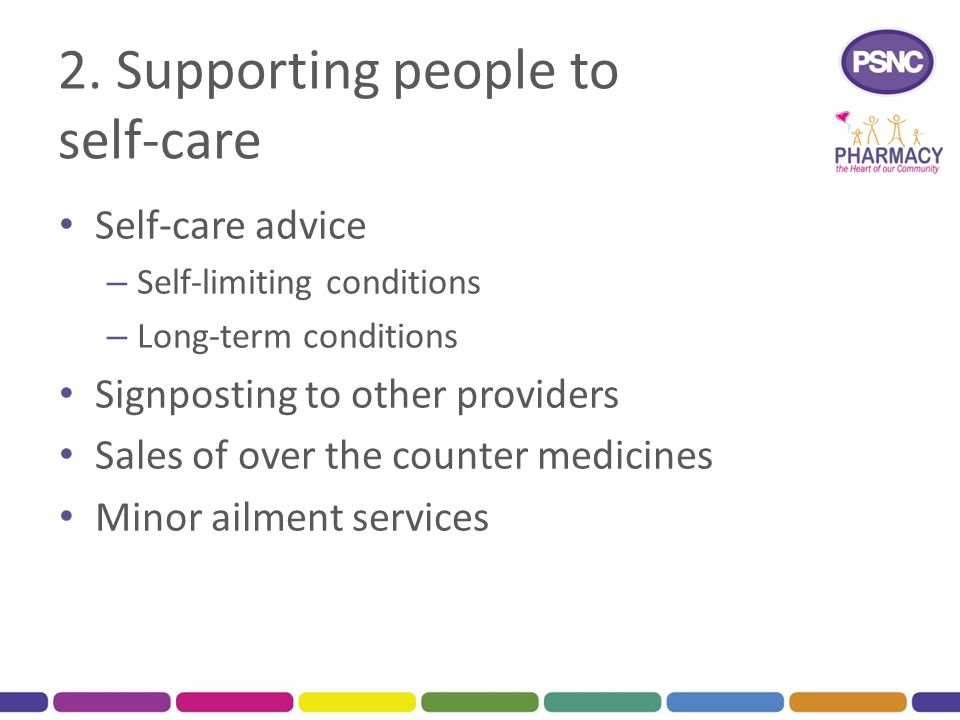 2. Supporting people to self-care Self-care advice – Self-limiting conditions – Long-term conditions Signposting to other providers Sales of over the