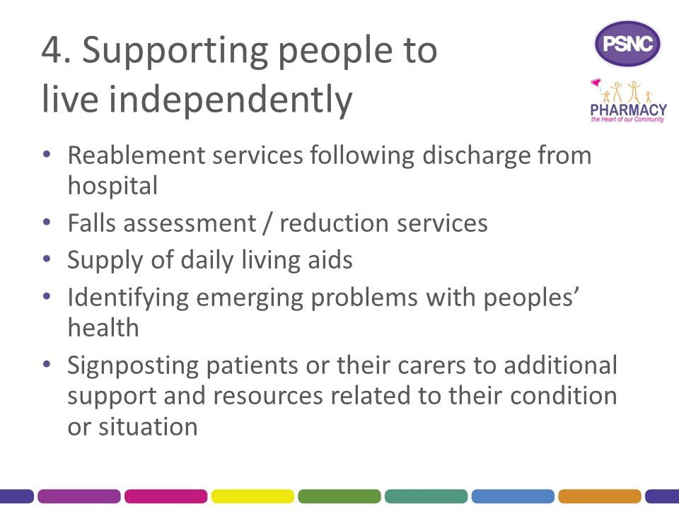 4. Supporting people to live independently Reablement services following discharge from hospital Falls assessment / reduction services Supply of daily