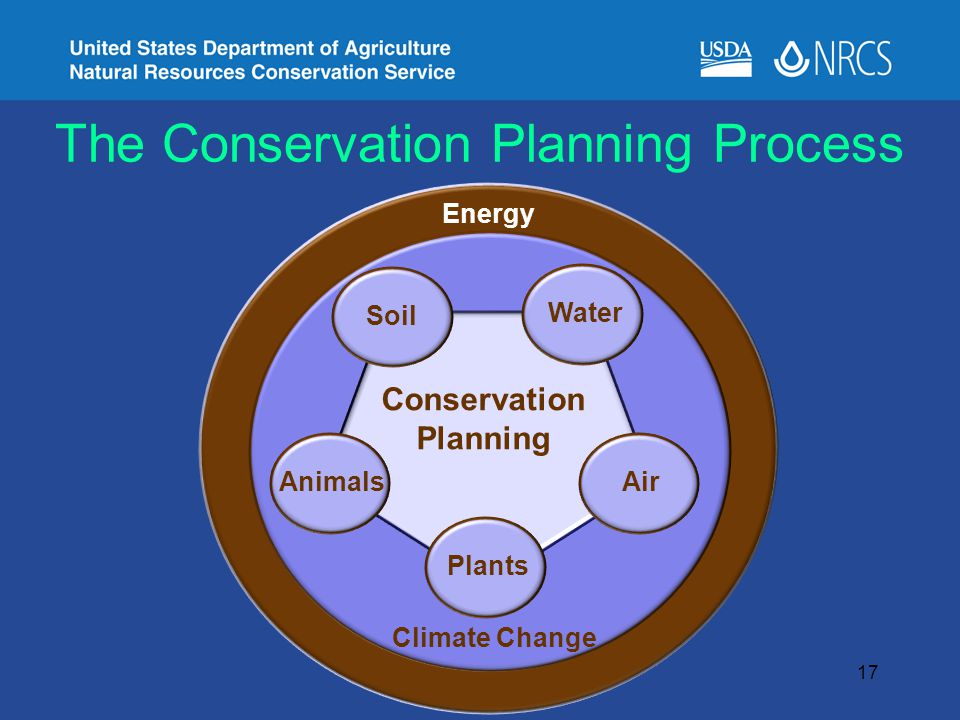 The Conservation Planning Process Energy Climate Change Plants Soil Water AnimalsAir Conservation Planning 17