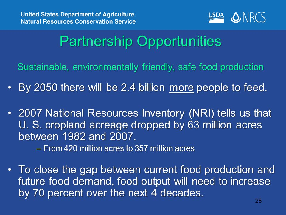 Partnership Opportunities Sustainable, environmentally friendly, safe food production By 2050 there will be 2.4 billion more people to feed.By 2050 there will be 2.4 billion more people to feed.
