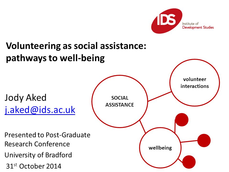 Volunteering as social assistance: pathways to well-being Jody Aked j.aked@ids.ac.uk SOCIAL ASSISTANCE volunteer interactions wellbeing Presented to Post-Graduate Research Conference University of Bradford 31 st October 2014