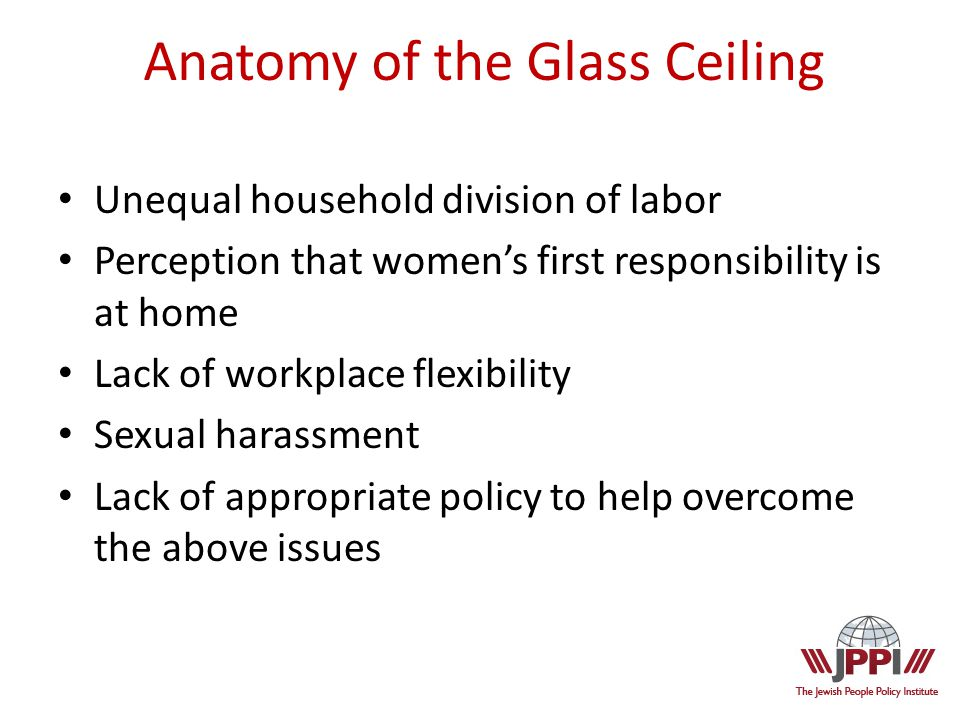 Anatomy of the Glass Ceiling Unequal household division of labor Perception that women's first responsibility is at home Lack of workplace flexibility Sexual harassment Lack of appropriate policy to help overcome the above issues