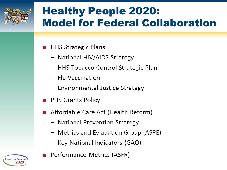 Healthy People 2020: Model for Federal Collaboration ■ HHS Strategic Plans –National HIV/AIDS Strategy –HHS Tobacco Control Strategic Plan –Flu Vaccination –Environmental Justice Strategy ■ PHS Grants Policy ■ Affordable Care Act (Health Reform) –National Prevention Strategy –Metrics and Evlauation Group (ASPE) –Key National Indicators (GAO) ■ Performance Metrics (ASFR)