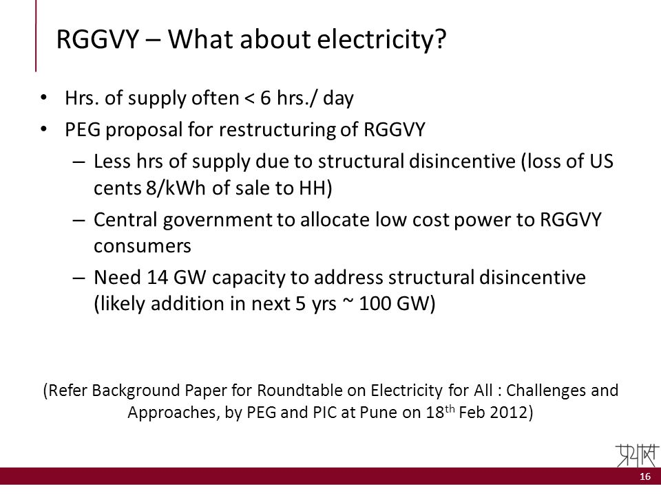 RGGVY – What about electricity? Hrs. of supply often < 6 hrs./ day PEG proposal for restructuring of RGGVY – Less hrs of supply due to structural disi