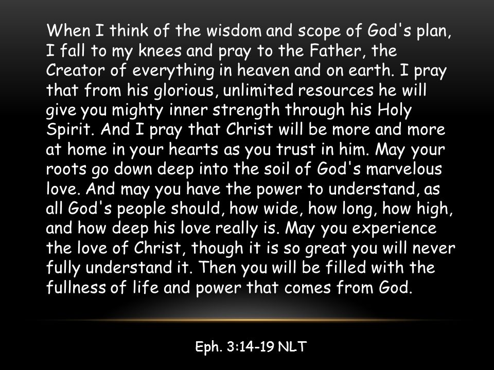 When I think of the wisdom and scope of God's plan, I fall to my knees and pray to the Father, the Creator of everything in heaven and on earth. I pra