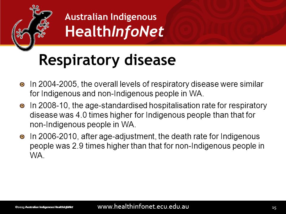 15 www.healthinfonet.ecu.edu.au Australian Indigenous HealthInfoNet ©2013 Australian Indigenous HealthInfoNet©2012 Australian Indigenous HealthInfoNet Respiratory disease In 2004-2005, the overall levels of respiratory disease were similar for Indigenous and non-Indigenous people in WA.