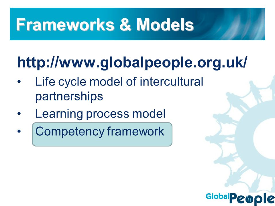 http://www.globalpeople.org.uk/ Life cycle model of intercultural partnerships Learning process model Competency framework Frameworks & Models