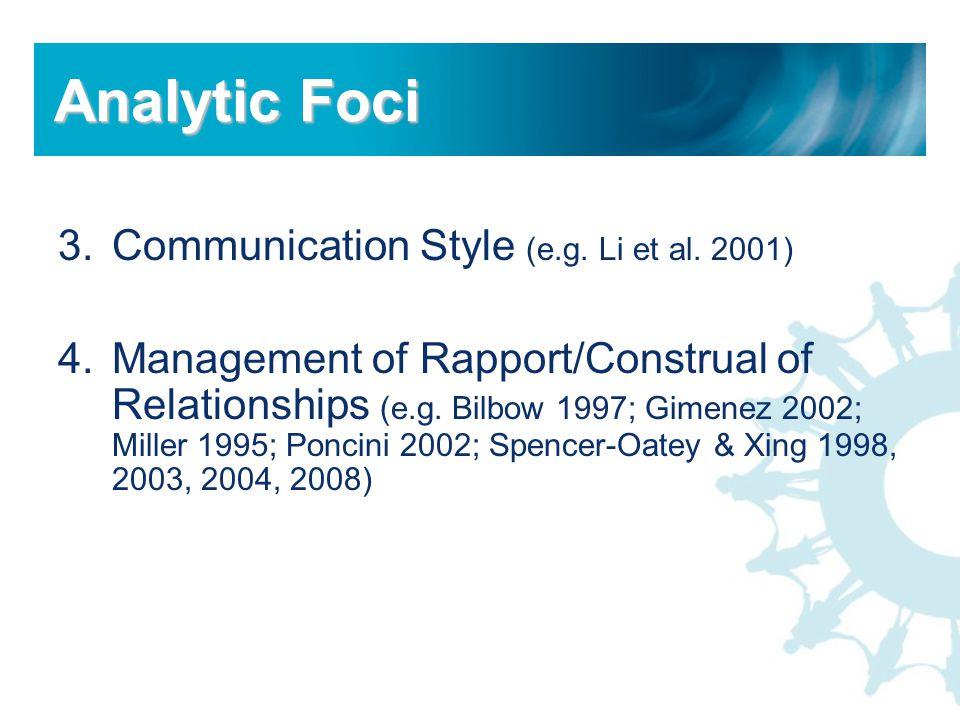 3.Communication Style (e.g. Li et al. 2001) 4.Management of Rapport/Construal of Relationships (e.g. Bilbow 1997; Gimenez 2002; Miller 1995; Poncini 2