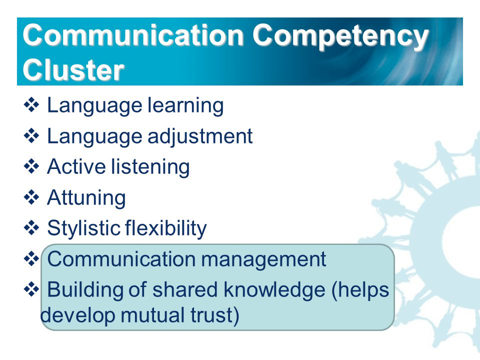  Language learning  Language adjustment  Active listening  Attuning  Stylistic flexibility  Communication management  Building of shared knowledge (helps develop mutual trust) Communication Competency Cluster