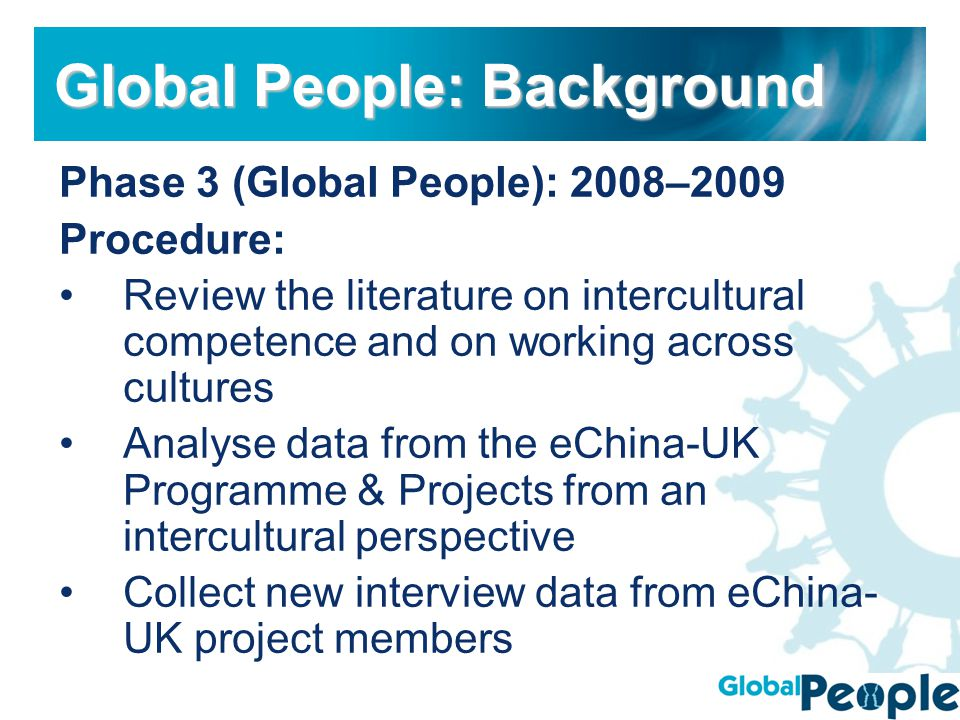Phase 3 (Global People): 2008–2009 Procedure: Review the literature on intercultural competence and on working across cultures Analyse data from the eChina-UK Programme & Projects from an intercultural perspective Collect new interview data from eChina- UK project members Global People: Background