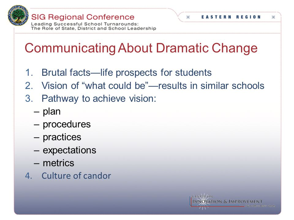 "Communicating About Dramatic Change 1.Brutal facts—life prospects for students 2.Vision of ""what could be""—results in similar schools 3.Pathway to ach"