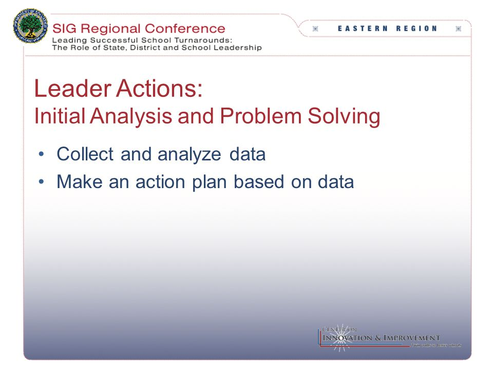 Leader Actions: Initial Analysis and Problem Solving Collect and analyze data Make an action plan based on data