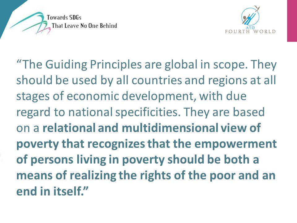 The Guiding Principles are global in scope.