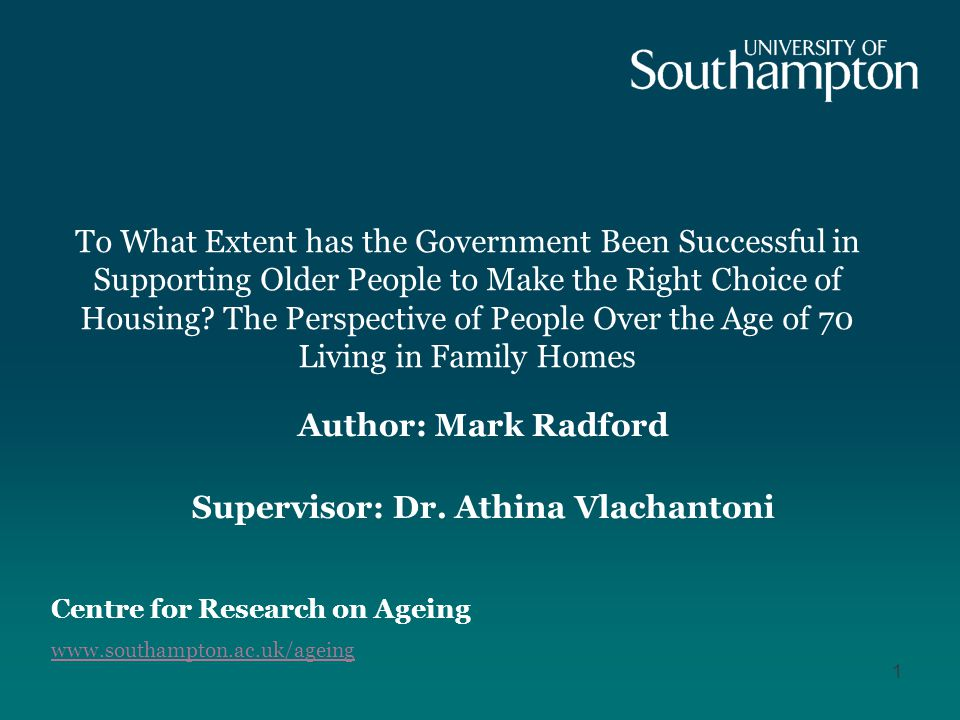 To What Extent has the Government Been Successful in Supporting Older People to Make the Right Choice of Housing.