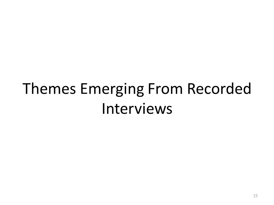 Themes Emerging From Recorded Interviews 15