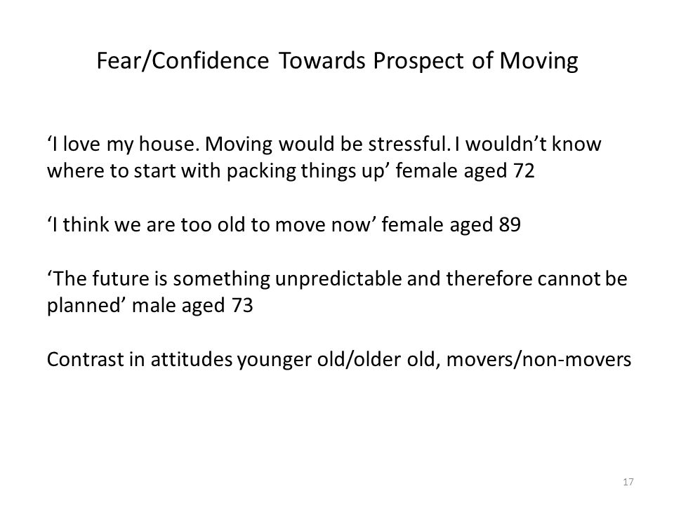 Fear/Confidence Towards Prospect of Moving 'I love my house.