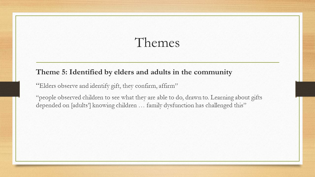 Themes Theme 5: Identified by elders and adults in the community Elders observe and identify gift, they confirm, affirm people observed children to see what they are able to do, drawn to.