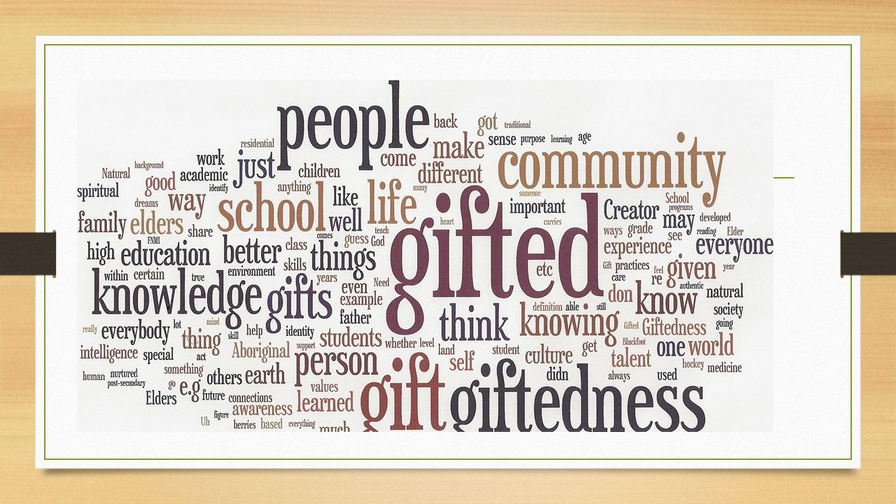 Results: Themes Theme 1: Everyone has a gift and 'it's gifted' (part of Indigenous language) Everybody has a gift you just have to figure out what it is, and it has to do with their mission here on earth, and I know that Everybody has a gift, and has own definition of what giftedness is, genetic and the environment contributes, and how you interact with world around you, all develops gift; each person has a life purpose… gifts come from the Creator. All people are gifted in different ways: spiritual practice, intelligence, medicine, storytelling, hunting…
