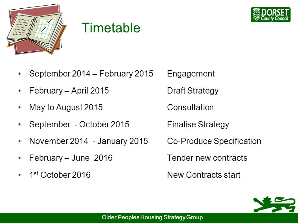 Timetable September 2014 – February 2015Engagement February – April 2015Draft Strategy May to August 2015Consultation September - October 2015Finalise Strategy November 2014 - January 2015Co-Produce Specification February – June 2016Tender new contracts 1 st October 2016New Contracts start Older Peoples Housing Strategy Group