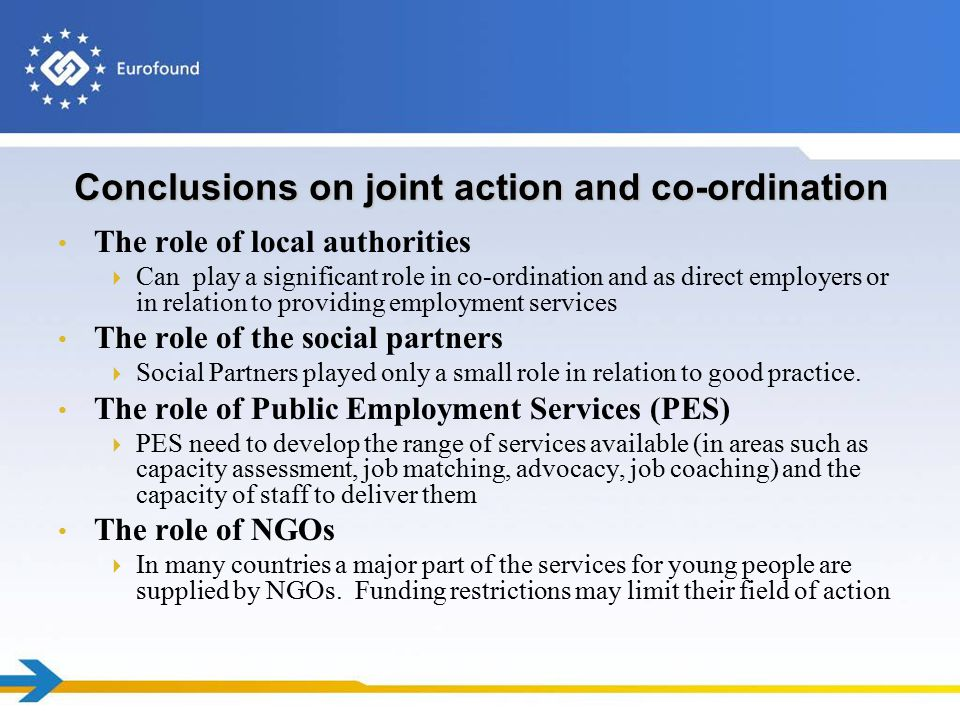 Conclusions on joint action and co-ordination The role of local authorities  Can play a significant role in co-ordination and as direct employers or in relation to providing employment services The role of the social partners  Social Partners played only a small role in relation to good practice.