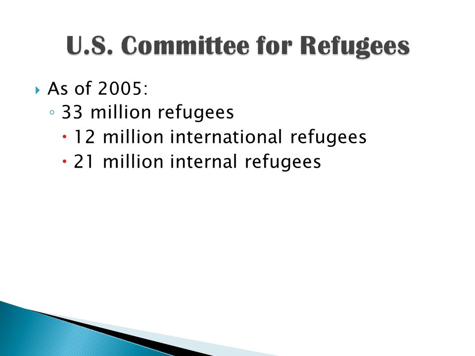  As of 2005: ◦ 33 million refugees  12 million international refugees  21 million internal refugees