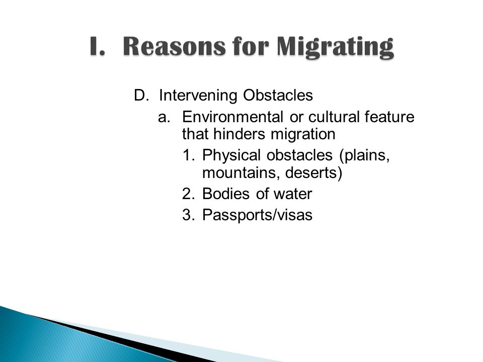 D. Intervening Obstacles a.Environmental or cultural feature that hinders migration 1.Physical obstacles (plains, mountains, deserts) 2.Bodies of wate