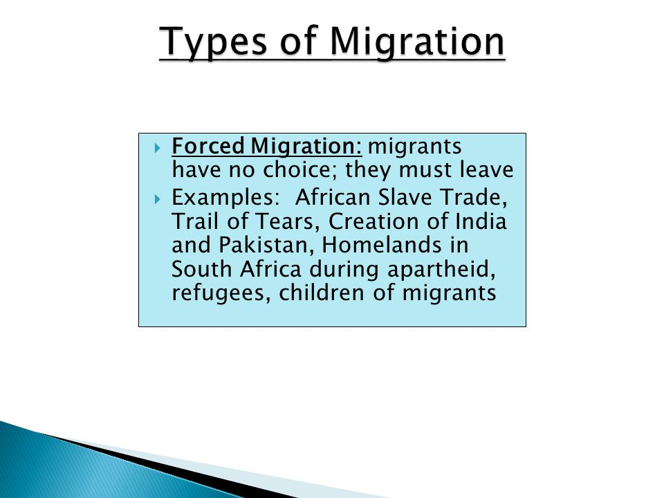  Theory created by geographer Wilbur Zelinsky  Examines migration patterns in each stage of DTM ◦ Stage One: high daily or seasonal mobility ◦ Stage Two: international migration (high unemployment/low development pushes people out of country); intraregional migration (people leave rural areas to look for jobs in cities) ◦ Stages Three/Four: destinations of people leaving Stage Two countries; intraregional migration (people leave cities for suburbs)