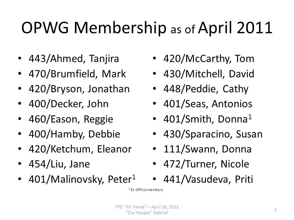 OPWG Membership as of April 2011 443/Ahmed, Tanjira 470/Brumfield, Mark 420/Bryson, Jonathan 400/Decker, John 460/Eason, Reggie 400/Hamby, Debbie 420/Ketchum, Eleanor 454/Liu, Jane 401/Malinovsky, Peter 1 420/McCarthy, Tom 430/Mitchell, David 448/Peddie, Cathy 401/Seas, Antonios 401/Smith, Donna 1 430/Sparacino, Susan 111/Swann, Donna 472/Turner, Nicole 441/Vasudeva, Priti FPD All Hands – April 19, 2011 Our People Debrief 3 1 Ex Officio members