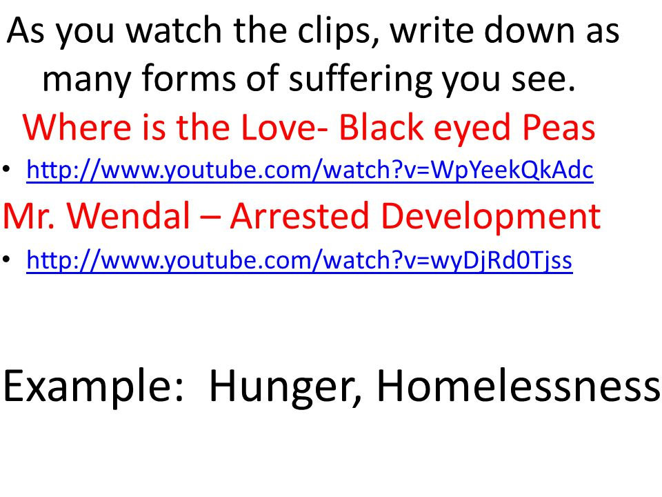 As you watch the clips, write down as many forms of suffering you see.