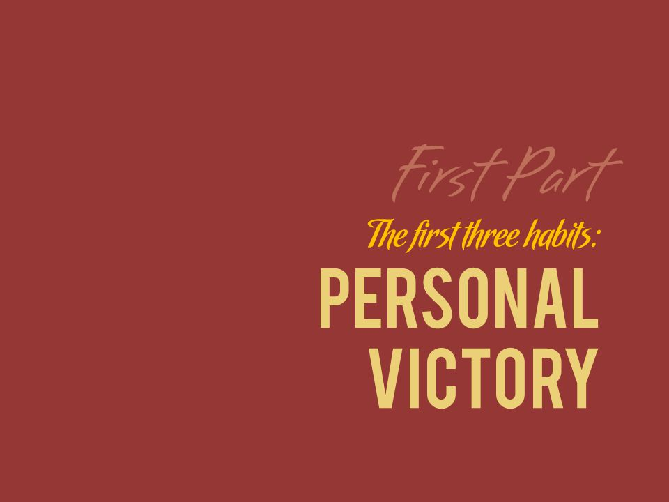 The first three habits: PERSONAL VICTORY First Part