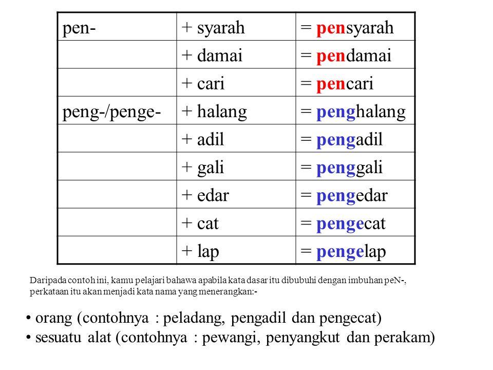 pen-+ syarah= pensyarah + damai= pendamai + cari= pencari peng-/penge-+ halang= penghalang + adil= pengadil + gali= penggali + edar= pengedar + cat= p