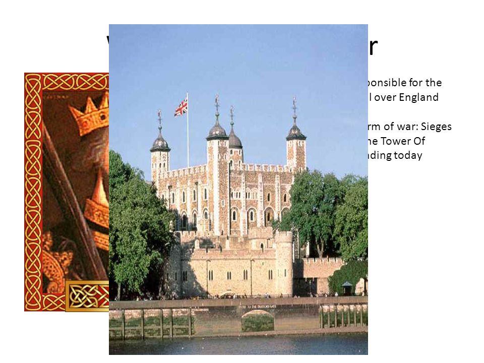 William the Conquerer English ruler who is responsible for the construction of castles all over England Lived from 1028-1087 Brought about a new form