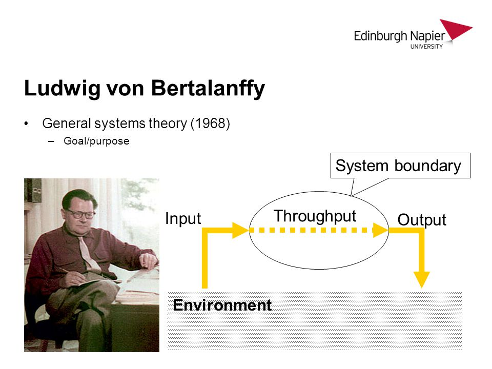 Ludwig von Bertalanffy General systems theory (1968) –Goal/purpose Environment System boundary Input Output Throughput