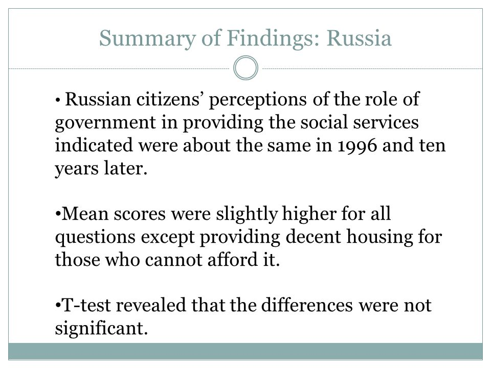 Summary of Findings: Russia Russian citizens' perceptions of the role of government in providing the social services indicated were about the same in 1996 and ten years later.
