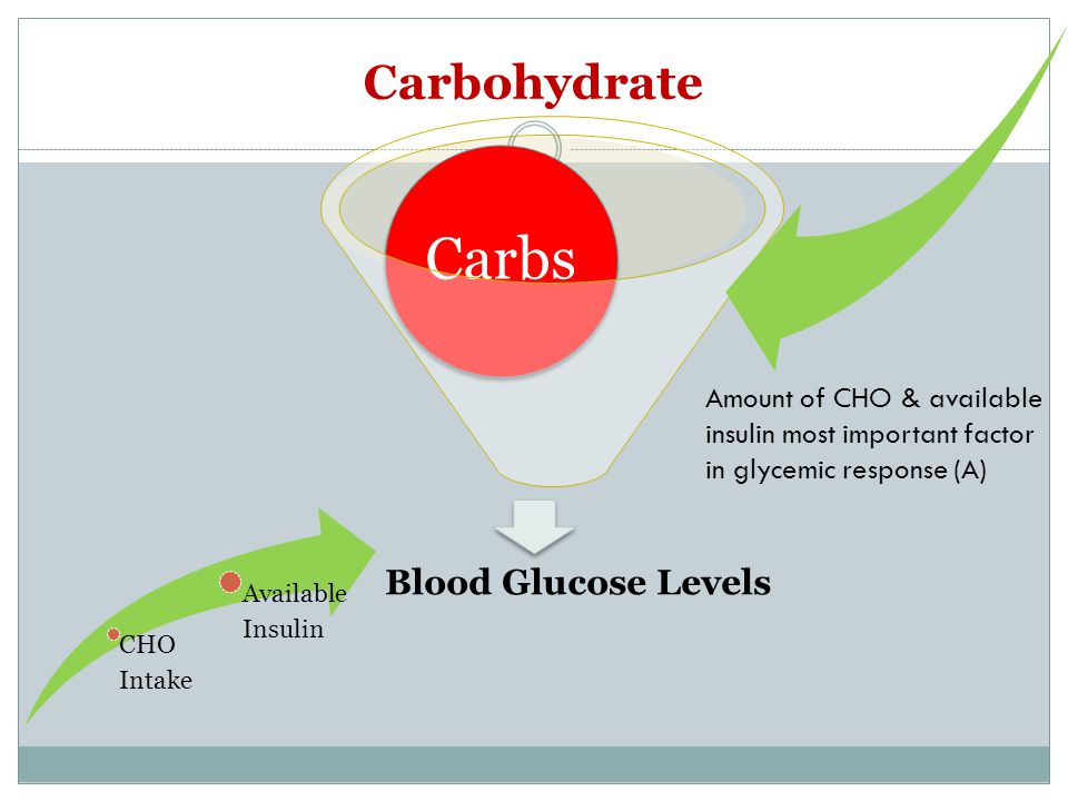Carbohydrate Blood Glucose Levels Carbs CHO Intake Availabl e Insulin Amount of CHO & available insulin most important factor in glycemic response (A)