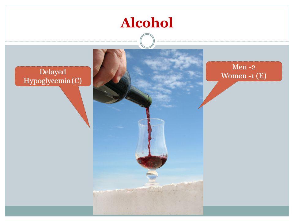 Alcohol Men -2 Women -1 (E) Delayed Hypoglycemia (C)