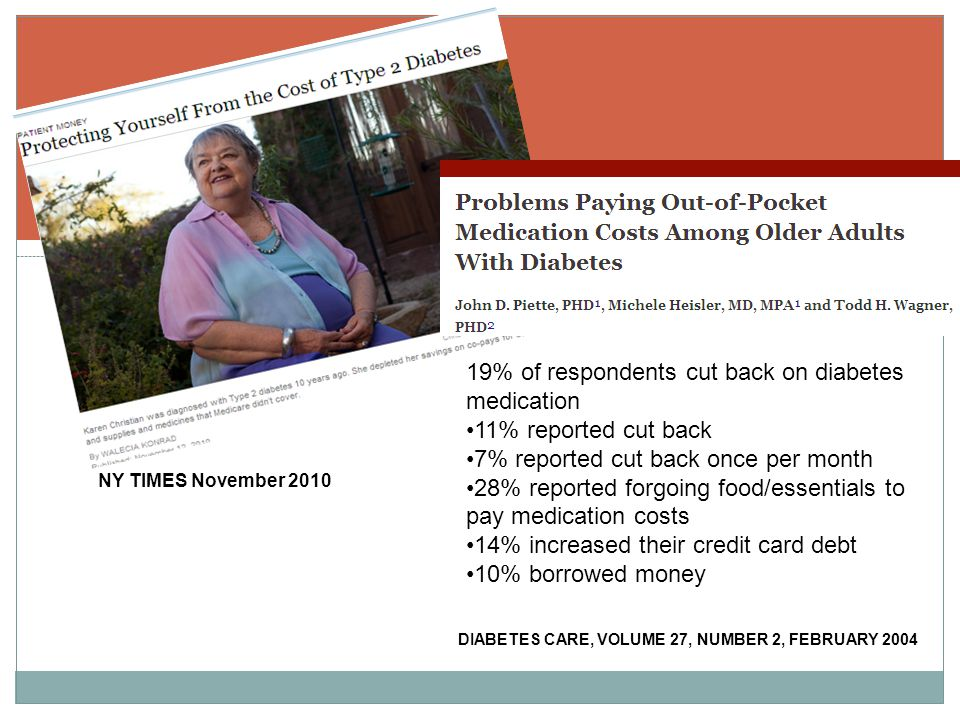 DIABETES CARE, VOLUME 27, NUMBER 2, FEBRUARY 2004 19% of respondents cut back on diabetes medication 11% reported cut back 7% reported cut back once per month 28% reported forgoing food/essentials to pay medication costs 14% increased their credit card debt 10% borrowed money NY TIMES November 2010
