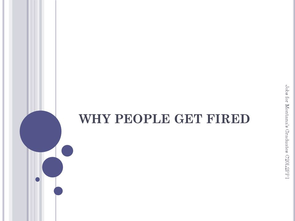 WHY PEOPLE GET FIRED Jobs for Montana s Graduates C20L2PP1