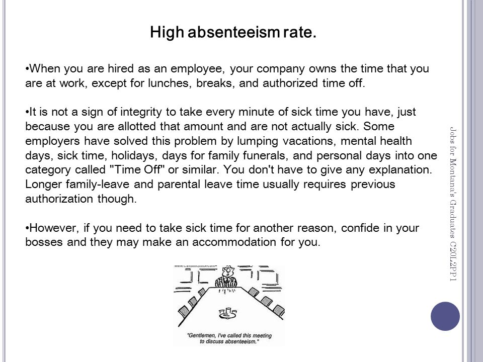 High absenteeism rate.