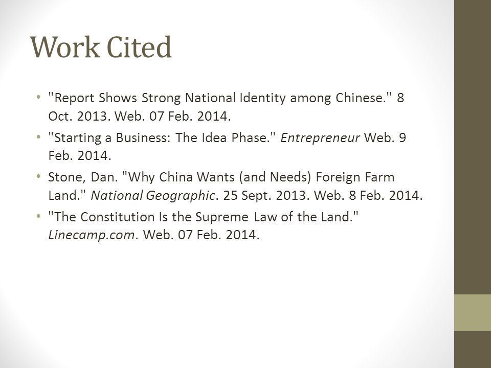 Work Cited Report Shows Strong National Identity among Chinese. 8 Oct.