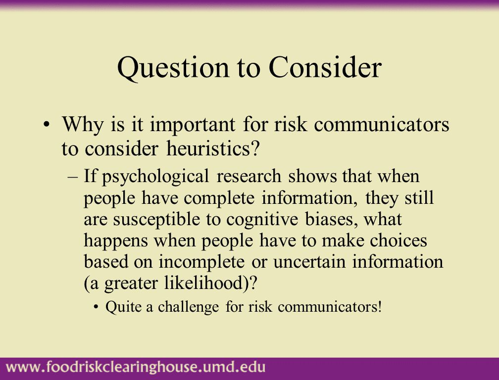 Mapping Risk Perceptions Psychological studies demonstrate that risk perceptions have multiple dimensions that fall into two primary factors (Slovic, 1987): –Unknown Factor –Dread Factor