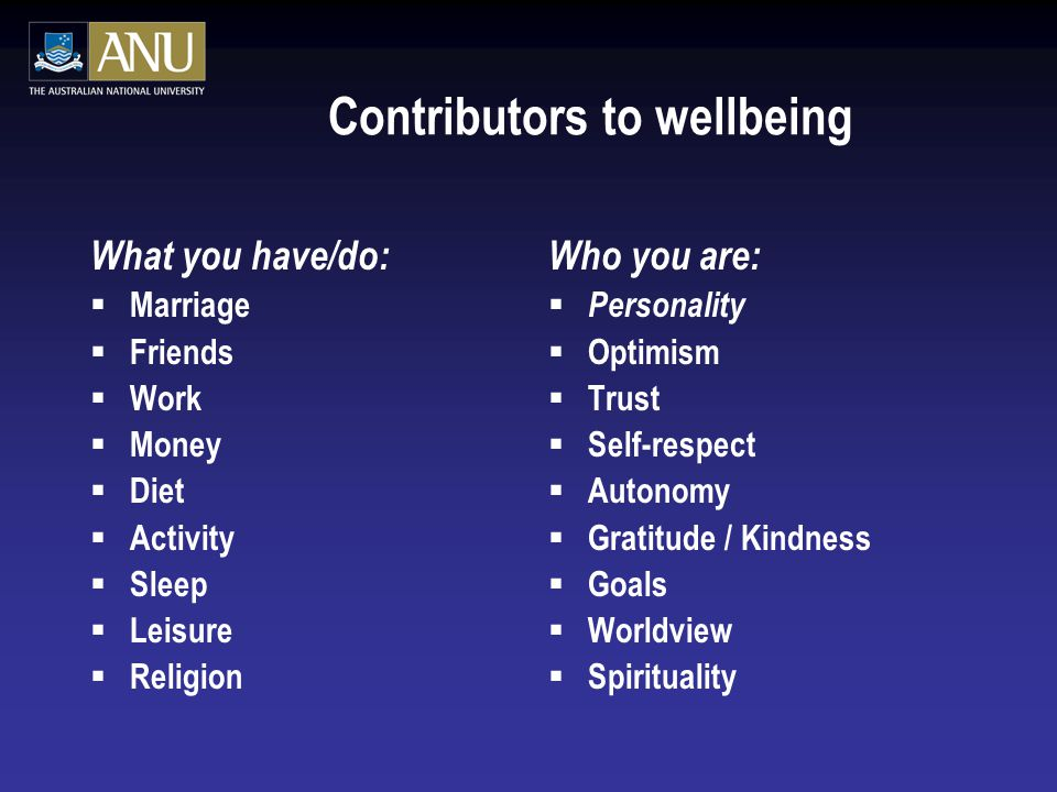Contributors to wellbeing What you have/do:  Marriage  Friends  Work  Money  Diet  Activity  Sleep  Leisure  Religion Who you are:  Personality  Optimism  Trust  Self-respect  Autonomy  Gratitude / Kindness  Goals  Worldview  Spirituality