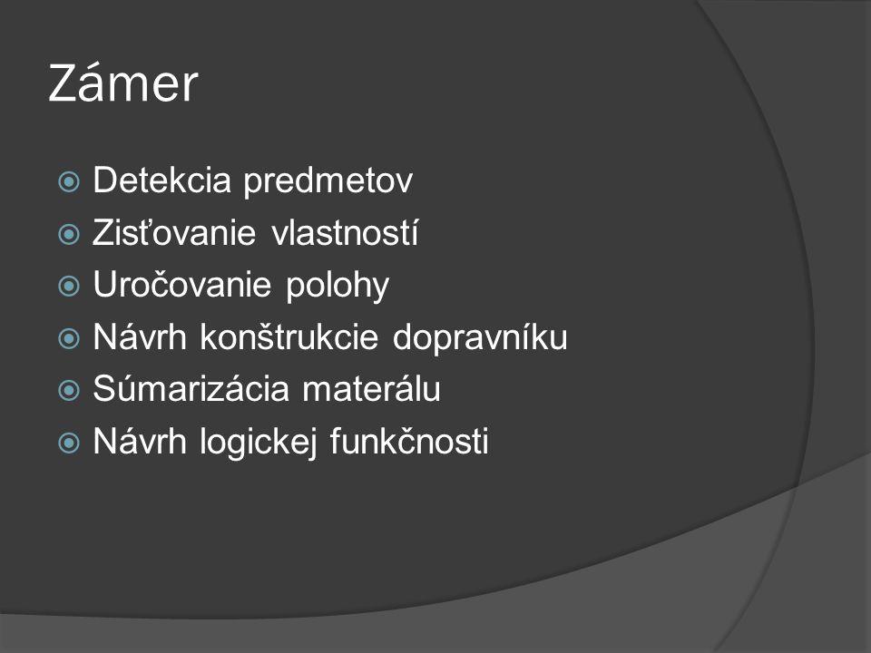 Zámer  Detekcia predmetov  Zisťovanie vlastností  Uročovanie polohy  Návrh konštrukcie dopravníku  Súmarizácia materálu  Návrh logickej funkčnosti